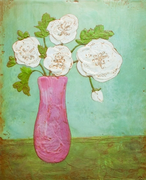 White Flowers in a Pink Vase. Encaustic 8 x 10