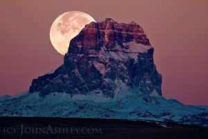 Chief Mountain Moonset by John Ashley