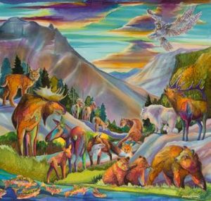 """Geography of Wonder""    By Nancy Cawdrey Dye on Silk – 40"" X 42"""